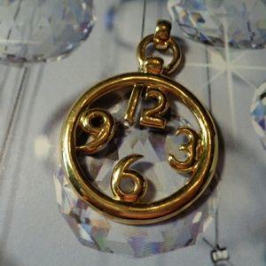 Goldtone Napier signed Clock Necklace Pend…